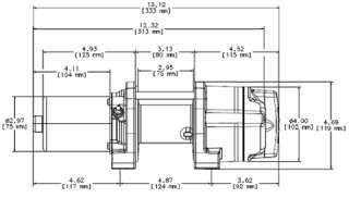Winch Dimensions 13.1 L x 4.5 D x 4.7 H (33.3cm L x 12cm D x 12cm