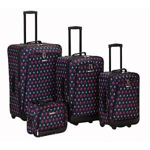 Rockland Designer Black Icon 4 pc Luggage set Rolling
