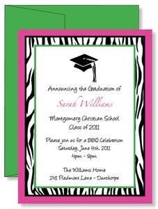 Zebra Graduation Party Invitations   Any Color