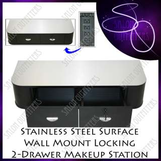 STATION STAINLESS STEEL WALL MOUNT BARBER BEAUTY SALON EQUIPMENT