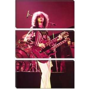 Jimmy Page of Led Zeppelin Double Neck Guitar 1973 Photographic Canvas
