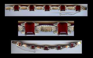 TRIFARI VINTAGE DECO RUBY RED FACETED GLASS GEMS & DAZZLING RHINESTONE