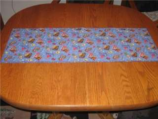 Handmade Table Runner Horses Western Cowboy Decor Blue