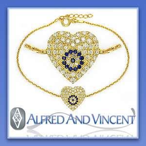 Nazar Greek Hamsa 18k Gold Heart Charm Sterling Silver Bracelet
