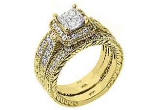 73CT WOMENS ANTIQUE DIAMOND ENGAGEMENT RING WEDDING BAND BRIDAL SET