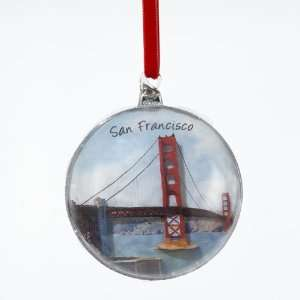 Pack of 6 San Francisco Golden Gate Bridge Christmas Disk Ornaments 4