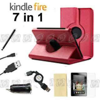 Stylish Kindle Fire PU Leather Case Cover/Car Charger/USB Cable/Stylus