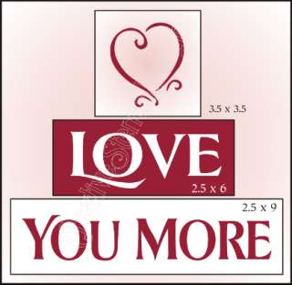 New Stencil Trio #T55 ~ Love You More with Pink Heart topper design by