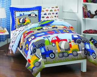 NEW Trucks Tractors Cars Boys Blue Red Twin Bedding Comforter Sheet