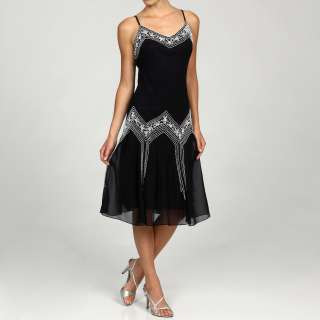 Laxmi Womens V Neck Beaded Detail Short Dress