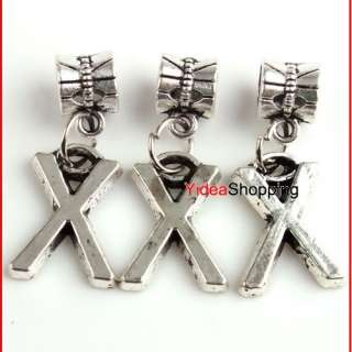 10x Tibetan Silver alphabet Letter Dangle Pendant Beads
