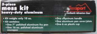 TEXSPORT 5 Piece Mess Kit Camping Cookware Heavy Duty Aluminum 13140