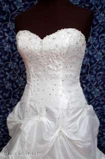 White Taffeta Beaded Laced Wedding Dress NWOT w Bolero
