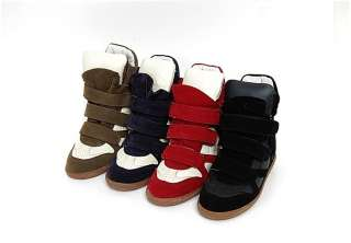 Velcro Sneakers Shoes Ankle Boots Black/Red/Blue/Khaki US 5.5~8