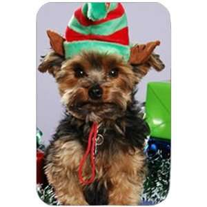 Yorkie Christmas Holiday Tempered Cutting Board Kitchen