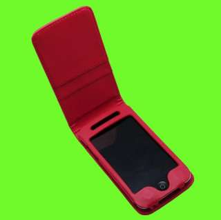 Purple Leather Flip Cover Puoch Case For iPod Touch 4G
