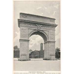 1893 Print Washington Memorial Arch Square New York