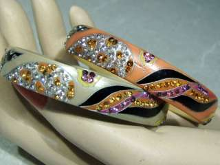 1920s Art Deco Celluloid Bakelite Sparkle Bangle Bracelet SET