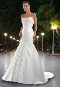 Slim Mermaid Sweetheart Applique Wedding Dress Gown New