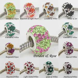 CRYSTAL TRUE 925 STERLING SILVER EUROPEAN CHARM BEAD FIT BRACELET