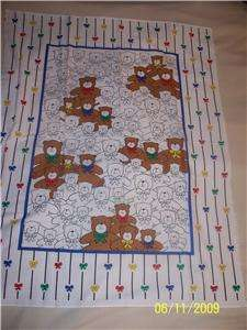Teddy Bear Baby/Toddler Quilt top, Fabric panel,Blanket