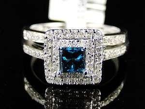 14K WHITE GOLD BLUE DIAMOND ENGAGEMENT BRIDAL WEDDING BAND RING SET
