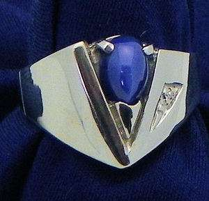MENS STAR SAPPHIRE & DIAMOND RING SOLID 14KW GOLD