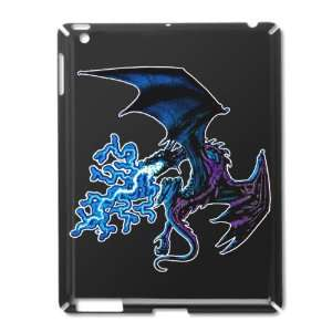 iPad 2 Case Black of Blue Dragon with Lightning Flames
