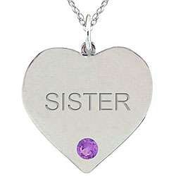 10k Gold February Birthstone Amethyst Engraved SISTER Necklace