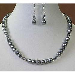 Palmtree Gems Black Diamond Crystal Necklace and Earring Set