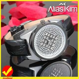 Alias Kim Nice Crystal Dial Leather Ladies Girls Wrist Quartz Watch