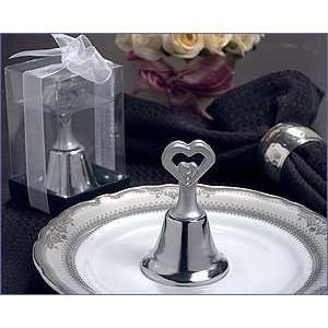 Silver Open Heart Bell With Stones   Wedding Party Favors