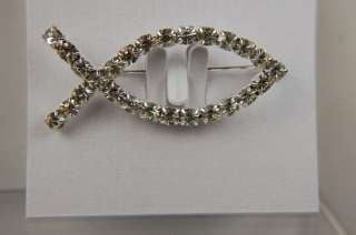Dazzling Designer Austrian Crystals CZ Fish Brooch Pin