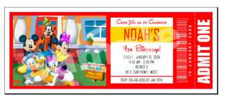 Mickey Mouse Clubhouse Ticket Personalized Invitations