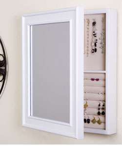 Wall mounted Mirrored White Jewelry Box