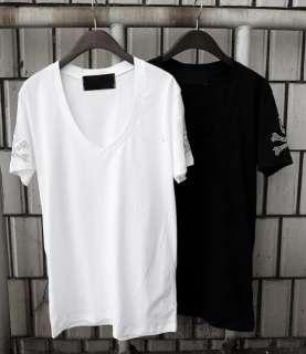 Cool Punk Style Skull Sleeve Design Mens V Neck T shirt