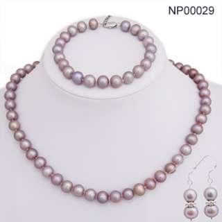 9mm Freshwater Pearls Necklace Bracelet Earring Set