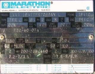 Marathon 1150 RPM 2hp Vacuum Pump Motor C Face 1 way cl