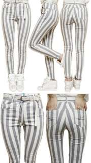 rise high waisted CASUAL STRIPE skinny jeans BLACK or GREY 24 25 26 27