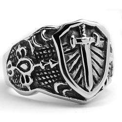 Stainless Steel Cast Cross Shield Ring