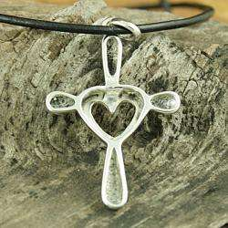 Sterling Silver Open Heart Cross Necklace (Mexico)