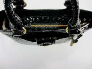 NEW BRAHMIN Black Collette MELBOURNE Croco Embossed Leather TOTE BAG $