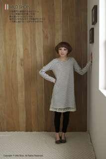 Japanese Fashion Style Womens Simple Stripe Long T shirt Tee Dress One