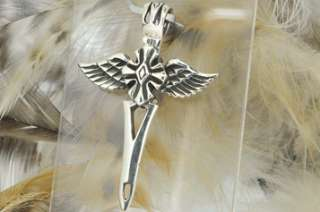 Sterling Silver Tribal Sword and Wings Cross Pendant