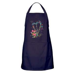 Apron (Dark) Flowered Butterfly Heart Peace Symbol Sign