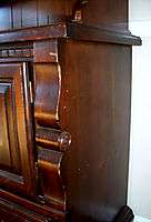 WELL USED DINING ROOM SET TABLE/4 CHAIRS/HUTCH/2 LEAVES SOLID MAPLE