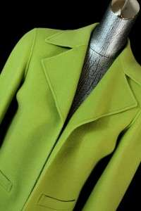 womens lime green TALBOTS open jacket blazer wool soft sz SMALL 6