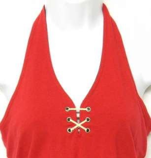 ANN TAYLOR Nautical RED Halter S Bandeau TOP Shirt STRETCH Cotton Knit