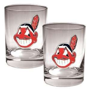 Cleveland Indians 2pc Rocks Glass Set   Primary Logo