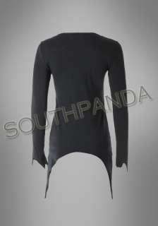 SC256 Black Pin Cross Design Charm Gothic T Shirts Top